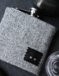 Personalised Harris Tweed hip flask gift